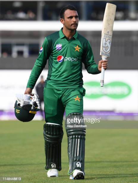 Fakhar Zaman of Pakistan walks off after being dismissed during the second One Day International between England and Pakistan at The Ageas Bowl on...