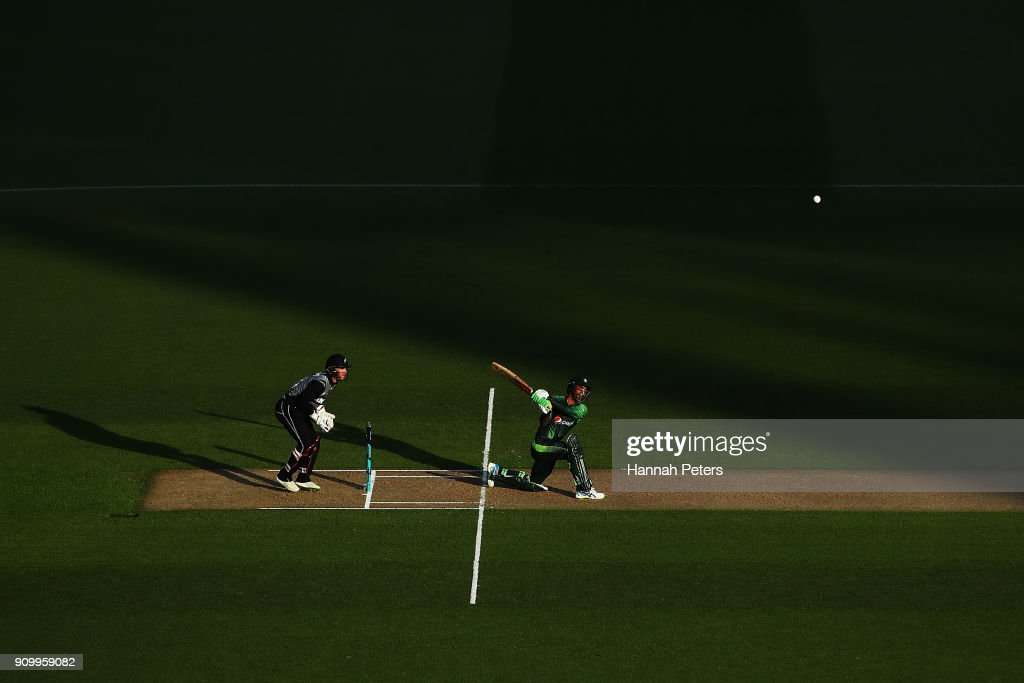Fakhar Zaman of Pakistsn pulls the ball away for four runs during the International Twenty20 match between New Zealand and Pakistan at Eden Park on January 25, 2018 in Auckland, New Zealand.