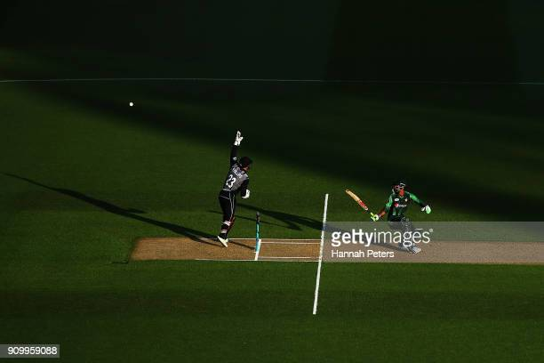 Fakhar Zaman of Pakistsn pulls the ball away for four runs during the International Twenty20 match between New Zealand and Pakistan at Eden Park on...