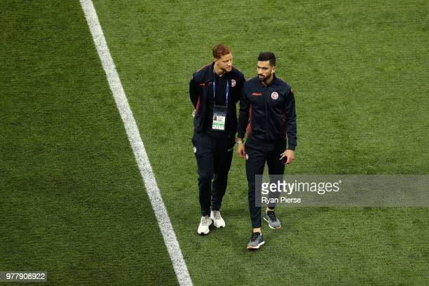 Fakhreddine Ben Youssef and Yassine Meriah of Tunisia looks on during a pitch inspection prior to the 2018 FIFA World Cup Russia group G match...