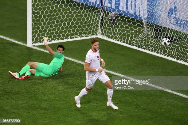 Fakhreddine Ben Youssef of Tunisia celebrates after scoring his team's first goal during the 2018 FIFA World Cup Russia group G match between Panama...