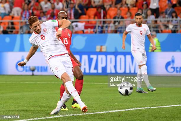Fakhreddine Ben Youssef of Tunisia scores his team's first goal to level the match 1-1 during the 2018 FIFA World Cup Russia group G match between...