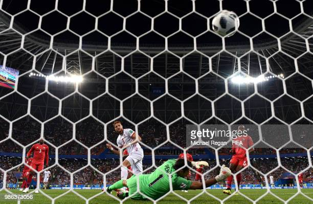 Fakhreddine Ben Youssef of Tunisia scores past Jaime Penedo of Panama his team's first goal to level the match 11 during the 2018 FIFA World Cup...