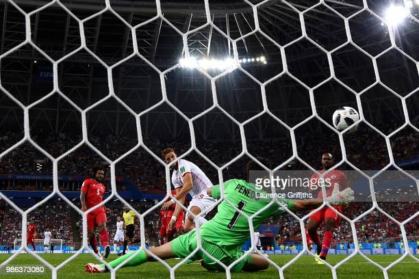 Fakhreddine Ben Youssef of Tunisia scores past Jaime Penedo of Panama his team's first goal to level the match 1-1 during the 2018 FIFA World Cup...
