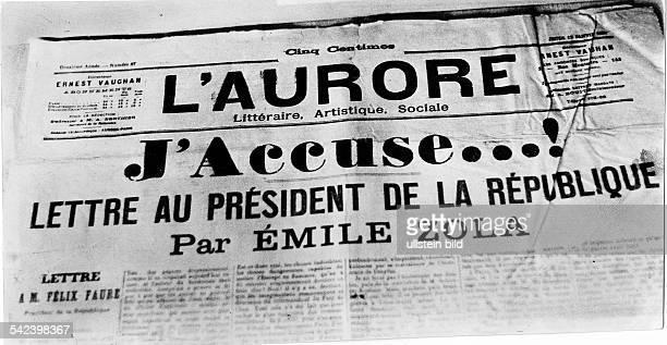 Faksimile der Pariser Zeitung L'Aurorevom 13 Januar 1898 mit dem offenenBrief des Dichters Emile Zola J'accuse