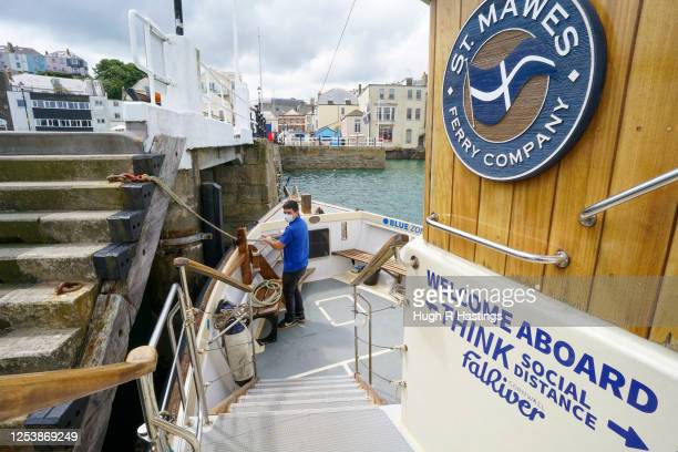 Fal River Ferries crew member Matt Honey on board as the ferry company undertakes a trial voyage while preparing their vessels for carrying...