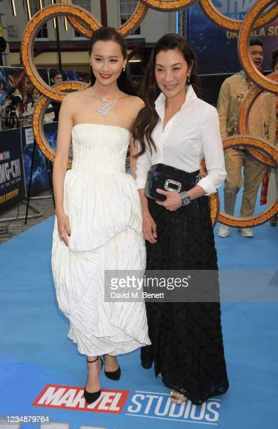 """Fala Chen and Michelle Yeoh attend the UK Gala Screening of Marvel Studios' """"Shang -Chi And The Legend Of The Ten Rings"""" at The Curzon Mayfair on..."""