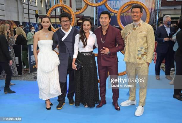 "Fala Chen, Benedict Wong, Michelle Yeoh, Simu Liu and Director Destin Daniel Cretton attend the UK Gala Screening of Marvel Studios' ""Shang -Chi And..."