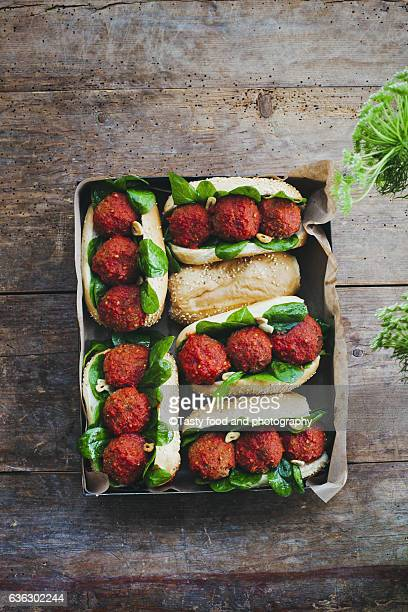 Falafel snack with tomato sauce and spinach