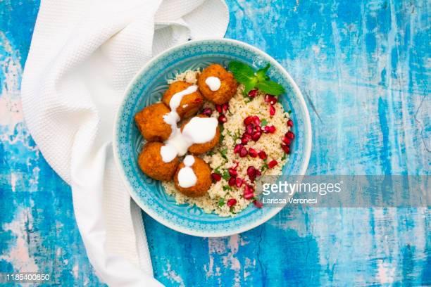 falafel with couscous - larissa veronesi stock-fotos und bilder