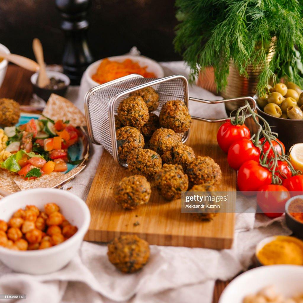 Falafel with ingredients : Foto de stock