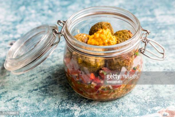 Falafel with Tabbouleh and Hummus in a jar