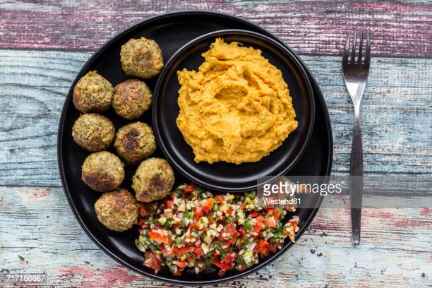 Falafel with Tabbouleh and Hummus