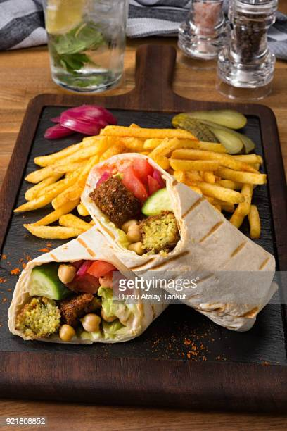 Falafel Wrap with French Fries