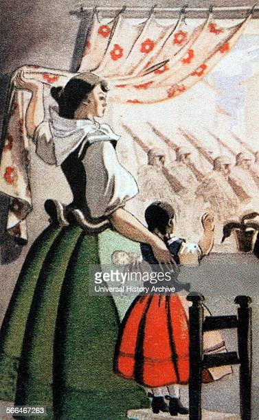 A Falangist post card from the Spanish Civil War period extolls the role of women as mothers watching their menfolk go to fight