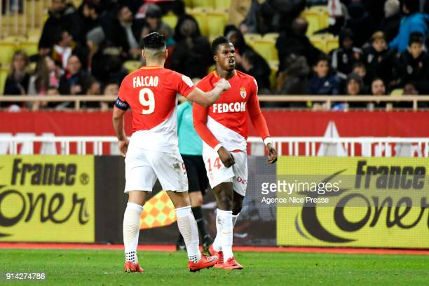Falcao and Keita Balde celebrates the first goal of Monaco during the Ligue 1 match between AS Monaco and Lyon at Stade Louis II on February 4 2018...