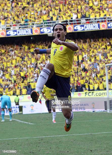 Falcao Garcia of Colombia celebrates a goal during a match between Colombia and Paraguay as part of the South American Qualifiers for the FIFA Brazil...