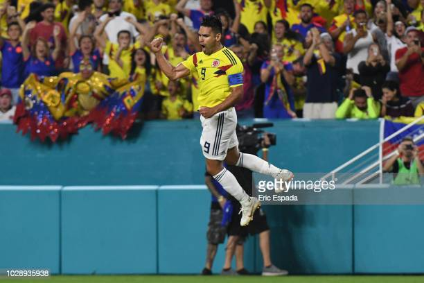 Falcao Garcia of the Colombian National Team celebrates after scoring a goal in the second half during the friendly match against the Venezuelan...
