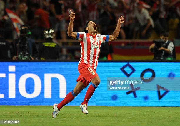 Falcao of Atletico Madrid celebrates scoring his side's second goal during the UEFA Super Cup match between Chelsea and Atletico Madrid at Louis II...