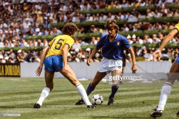 Falcao of Brazil and Giancarlo Antognoni of Italy during the second stage of the 1982 FIFA World Cup match between Italy and Brazil, at Sarria...