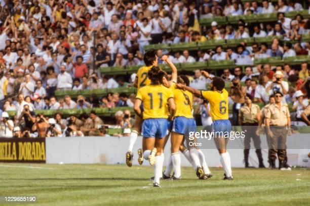 Falcao of Brazil celebrate his goal during the second stage of the 1982 FIFA World Cup match between Italy and Brazil, at Sarria Stadium, Barcelona,...
