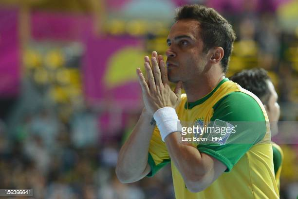 Falcao of Brazil celebrates after scoring his teams second goal during the FIFA Futsal World Cup QuarterFinal match between Argentina and Brazil at...
