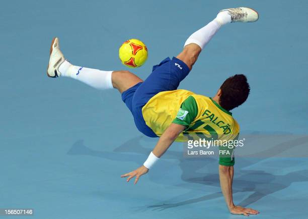 Falcao of Brazil tries a overhead kick during the FIFA Futsal World Cup SemiFinal match between Brazil and Colombia at Indoor Stadium Huamark on...