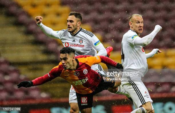 Falcao of Galatasaray in action against Victor Ruiz and Domagoj Vida of Besiktas during the Turkish Super Lig week 26 football match between...
