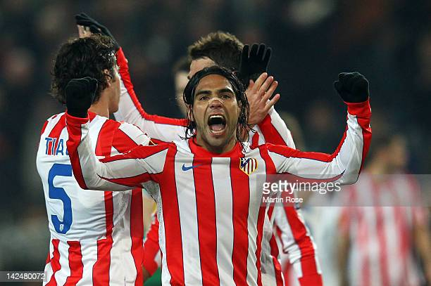 Falcao of Madrid celebrates after the UEFA Europa League quarter-final second leg match between Hannover 96 and Atletico de Madrid at AWD Arena on...