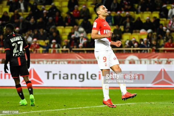 Falcao of Monaco celebrate his goal during the Ligue 1 match between AS Monaco and Stade Rennais at Stade Louis II on December 20 2017 in Monaco