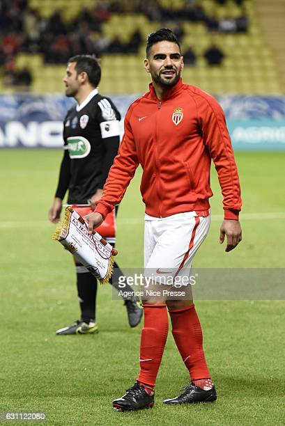 Falcao of Monaco during the French National Cup match between AS Monaco and AC Ajaccio at Louis II Stadium on January 6 2017 in Monaco Monaco