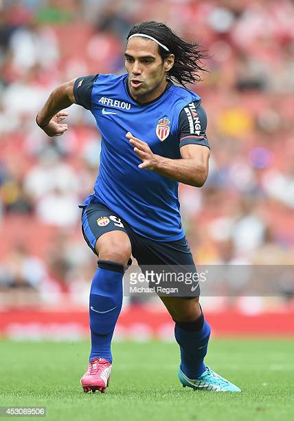 Falcao of Monaco in action during the Emirates Cup match between Valencia and AS Monaco at the Emirates Stadium on August 2 2014 in London England