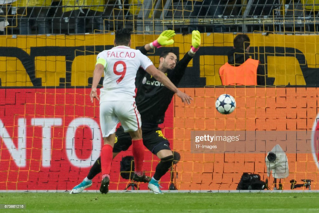 Falcao of Monaco scores a goal during the UEFA Champions League Quarter Final: First Leg match between Borussia Dortmund and AS Monaco at Signal Iduna Park on April 12, 2017 in Dortmund, Germany.