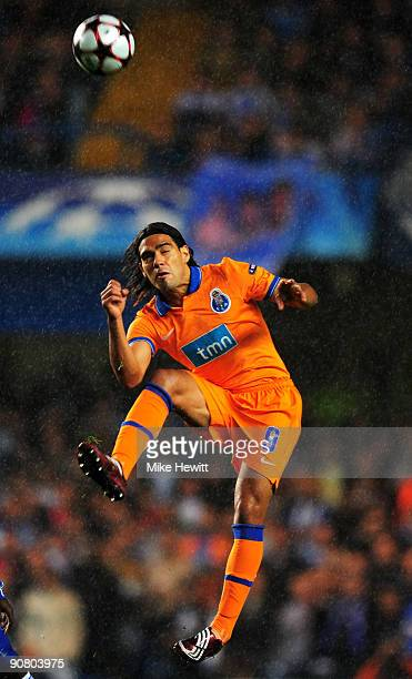 Falcao of Porto heads the ball during the UEFA Champions League Group D match between Chelsea and FC Porto at Stamford Bridge on September 15 2009 in...