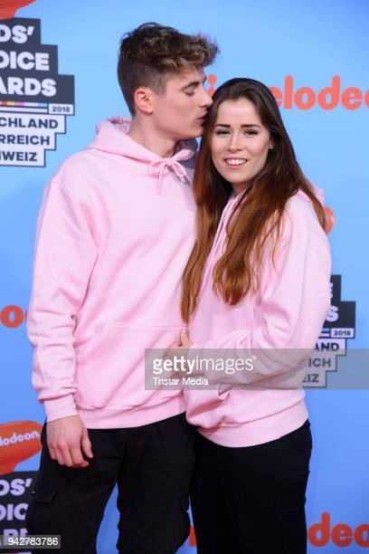 Falco Punch and his girlfriend Sara Mittag during the Nickelodeon Kids Choice Awards on April 6 2018 in Rust Germany