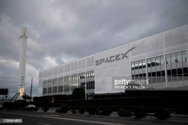 Falcon 9 rocket is displayed outside the Space Exploration Technologies Corp. Headquarters on January 28, 2021 in Hawthorne, California.