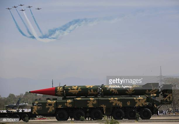 Falcon missile is displayed during the Pakistan Day military parade in Islamabad on March 23 2015 Pakistan holds its first national day military...
