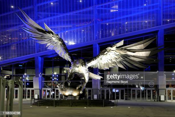'Falcon' sculpture outside Mercedes-Benz Stadium, home of the Atlanta Falcons football team and Atlanta United FC soccer team in Atlanta, Georgia on...