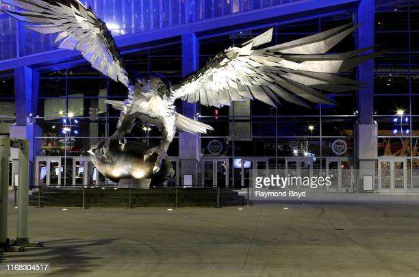 'Falcon' sculpture outside MercedesBenz Stadium home of the Atlanta Falcons football team and Atlanta United FC soccer team in Atlanta Georgia on...