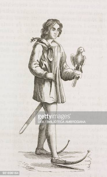Falconer wearing shoes with elongated tips, a fashion in vogue at the time of Henry II in England, 12th century, engraving from L'album, giornale...
