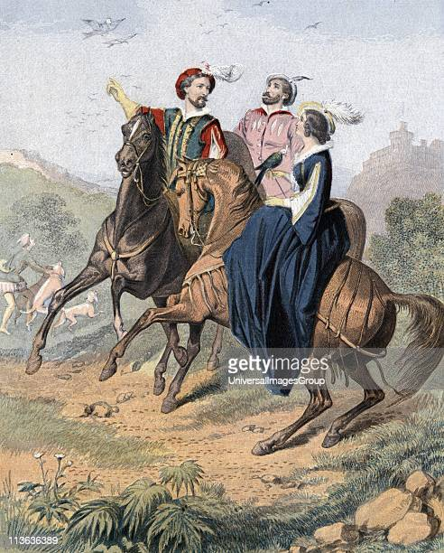 Falconry artist's impression of late 16th century party out hawking Woman with falcon is riding sidesaddle Mid19th century chromolithograph
