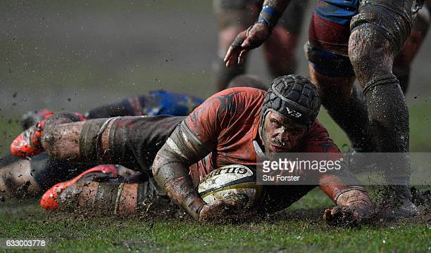 Falcons captain Will Welch is stopped just short of the line during the Anglo Welsh Cup match between Newport Gwent Dragons and Newcastle Falcons at...