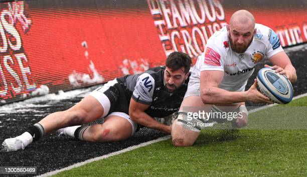 Falcons centre centre Gareth Owen tackles Chiefs player Will Witty just short of the try line during the Gallagher Premiership Rugby match between...
