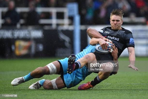 Falcons centre Chris Harris is tackled during the Gallagher Premiership Rugby match between Newcastle Falcons and Worcester Warriors at Kingston Park...