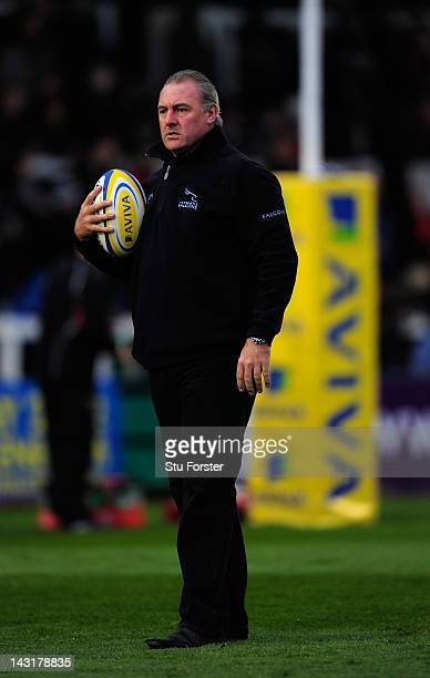 Falcons coach Gary Gold looks on before the Aviva Premiership match between Newcastle Falcons and Saracens at Kingston Park on April 20 2012 in...