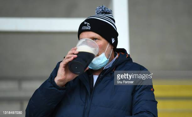 Falcons fan enjoys a pint before the Gallagher Premiership Rugby match between Newcastle Falcons and Northampton Saints at Kingston Park on May 17,...