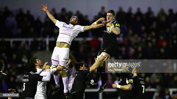 Falcons forward Calum Green beats Alistair Hargreaves of the Saracens in a lineout during the Aviva Premiership match between Newcastle Falcons and...
