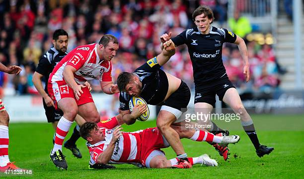 Falcons front row Kieran Brookes is tackled during the Aviva Premiership match between Gloucester Rugby and Newcastle Falcons at Kingsholm Stadium on...