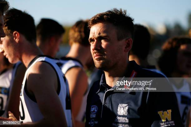 Falcons head coach Daniel O'Keefe at three quarter time during the round three TAC Cup match between Murray Bushrangers and Geelong Falcons at Queen...