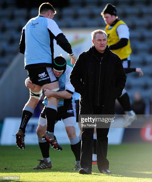 Falcons head coach Gary Gold looks on before the Aviva Premiership match between Newcastle Falcons and London Irish at Kingston Park on February 18,...